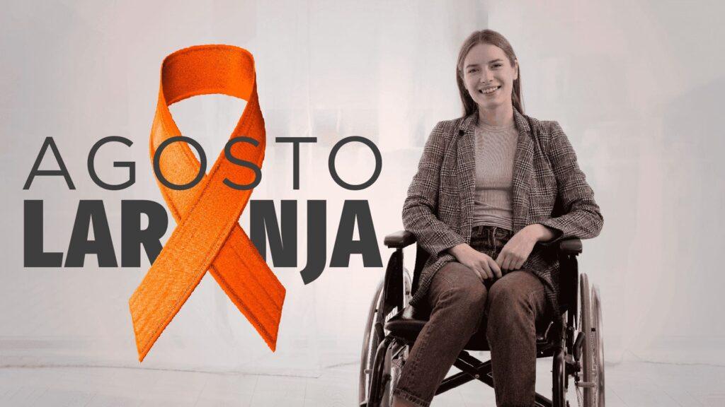 """m cadeira de rodas, o texto """"Agosto Laranja"""", com descrição na legenda, ilustrando o Dia Nacional de Conscientização da Esclerose Múltipla 2021."""