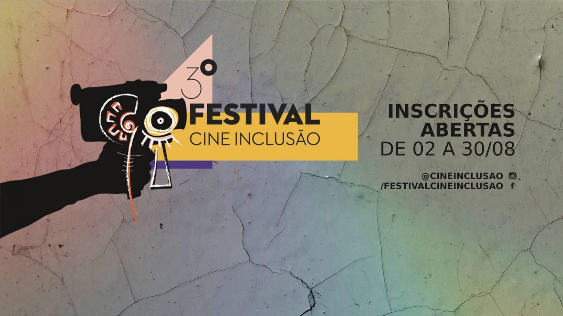 """Arte oficial ilustrando a notícia """"Festival Cine Inclusão 2021 abre inscrições de curtas-metragens"""". Descrição detalhada na legenda."""