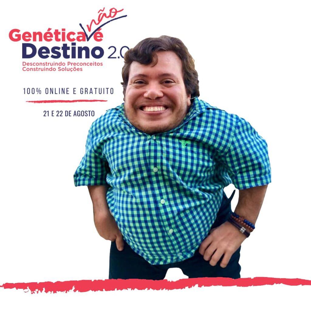 """Arte editada, com fotos e o texto: """"Genética Não É Destino 2.0"""". Na sequência, o slogan: """"Desconstruindo preconceitos, construindo soluções"""". Descrição detalhada na legenda."""