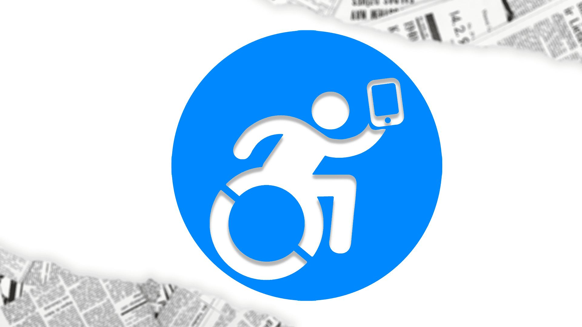 Ícone Jornalista Inclusivo, pessoa com deficiência, em cadeira de rodas, segurando celular, com recortes de noticias de jornal.