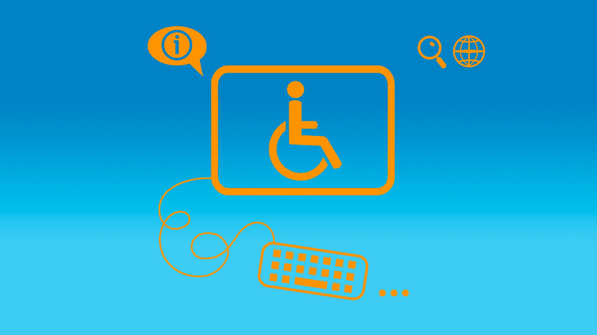 Arte em fundo azul e ícones laranja, ilustrando pauta sobre treinamentos de acessibilidade digital a profissionais de TI. Descrição na legenda, abaixo.