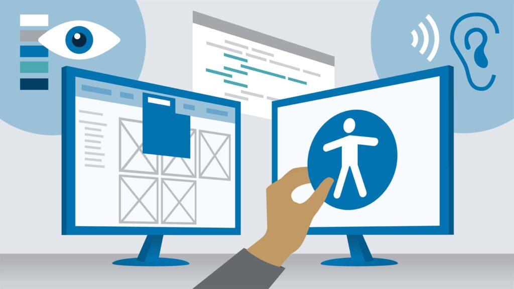 Ilustração de dois monitores e o ícone universal de acessibilidade digital.