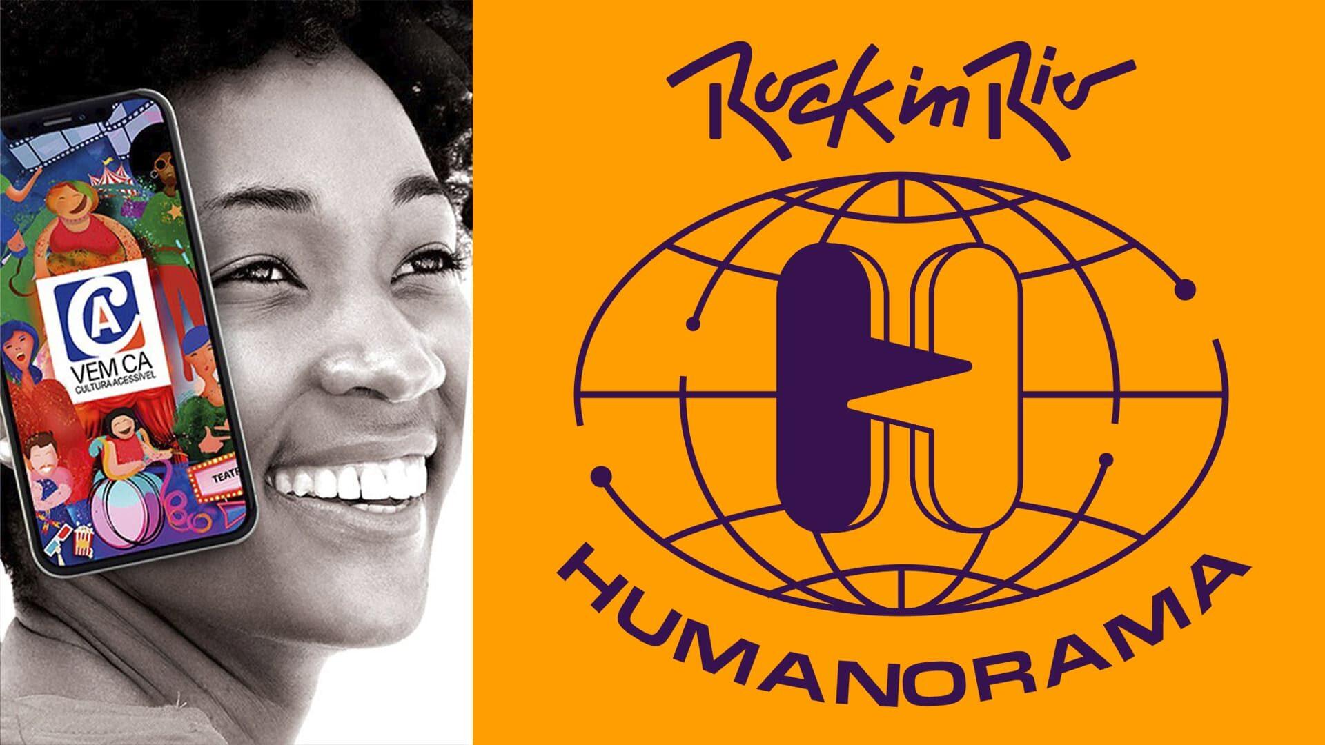 Arte com foto de mulher negra, com celular no App VEM CÁ no Rock In Rio Humanorama 2021. Descrição detalhada na legenda.