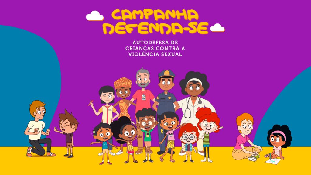 Ilustração com diversos personagens, adultos e crianças, da Campanha Defenda-se. Descrição detalhada na legenda abaixo.