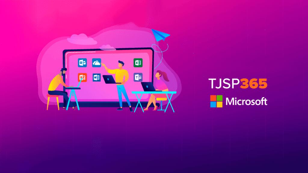 Ilustração em degradê pink e lilás, com monitor aumentado, e a sobreposição das informações: TJSP 365 e o logo da Microsoft.