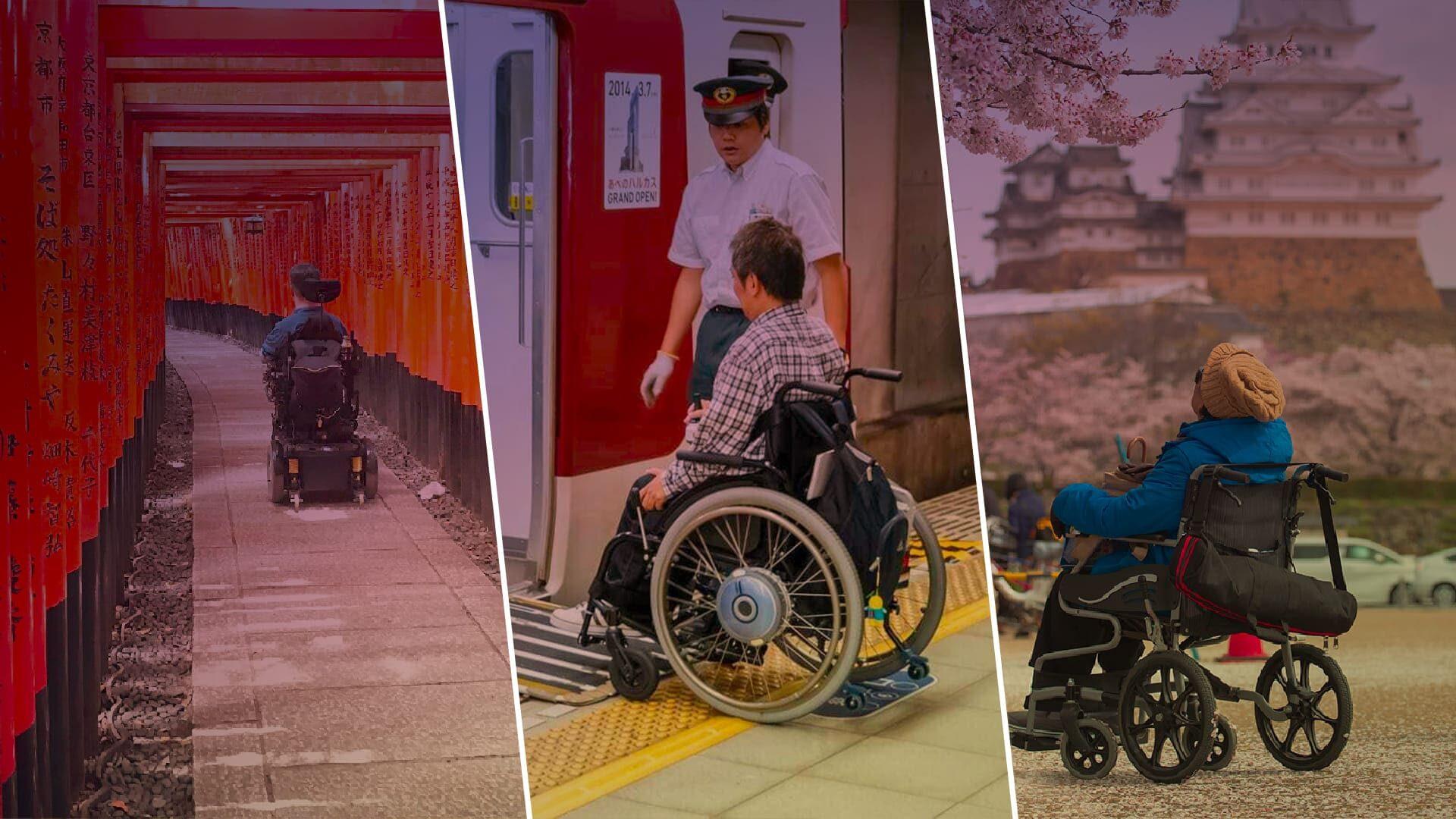"""Ilustrando o texto """"Turismo Acessível Japonês"""" arte editada com três fotografias de pessoas em cadeiras de rodas, em pontos turísticos no Japão."""
