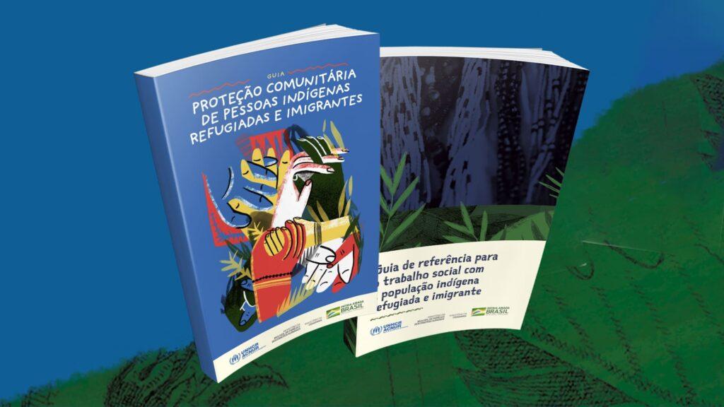 Ilustração com as capas das cartilhas que orientam atendimento ao indígena refugiado e migrante da Venezuela, com descrição na legenda.