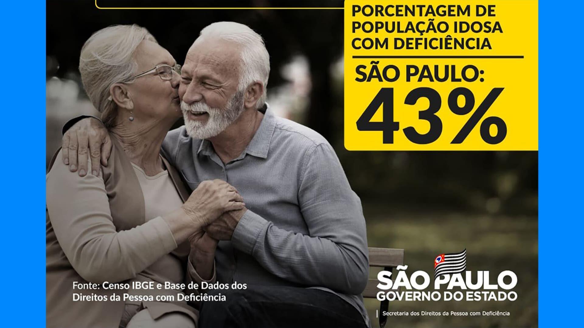 """Casal de idosos ilustrando o lançamento da cartilha """"Envelhecer é para todos"""", com informações em texto descrito na legenda."""