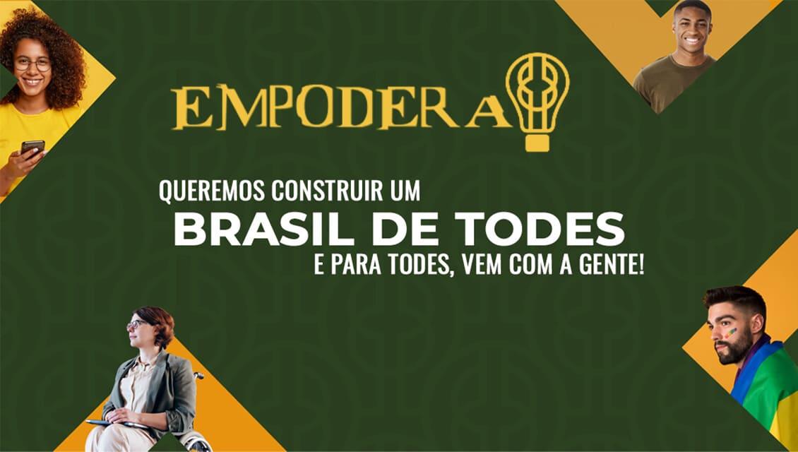 Banner de divulgação da plataforma Empodera, com texto e fotos descritos na legenda mais abaixo.