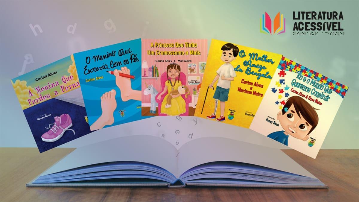 Arte com capa de cinco livros infanto-juvenil, do Projeto Literatura Acessível, descritos na legenda.